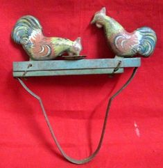 Antique Litho Printed Hen Cock Tin Toy Mechanical Squeeze Litho Tin Toy