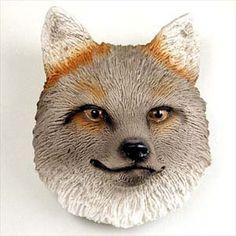 Stone Resin Gray Fox Magnet