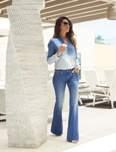 "Hey my lovely divas! My post for today is called ""How to Style Flared Jeans This Fall"". Although they have appeared recently on the runways, flared jeans are Spring Summer Fashion, Autumn Fashion, Pretty Designs, Denim Flares, Dressing, Wide Leg Jeans, All About Fashion, Stylish Dresses, Scarf Styles"