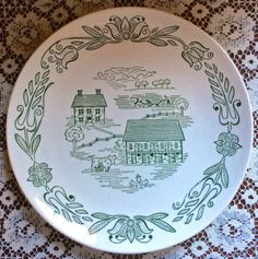 Royal China's Wayne County vintage china pattern - love the chickens and cow in this print! - Southern Vintage Table