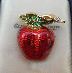 Gorgeous small red & green #enamel apple & #snake (?) vintage brooch pin #badge e,  View more on the LINK: http://www.zeppy.io/product/gb/2/192028438413/