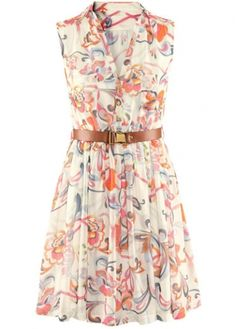 Alluring Print Design Turndown Collar A Line Dress