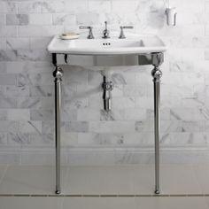 Manhattan Vanity basin and washstand - Fired Earth Grey Bathroom Tiles, Grey Bathrooms, Family Bathroom, Master Bathroom, Fired Earth Bathroom, Grey Marble Tile, Console Sink, Ikea, Traditional Baths