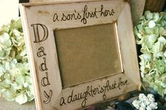 CAN U SAY TEAR AWWWWWW    Father's Day Gift For Dad Frame Engraved Rustic Cottage Style Daddy son's first hero daughter's first love 5 x 7 or CUSTOMIZE
