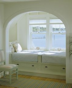 Built-in sleeping alcove:  love the archway; drawers; beds end-to-end; floors; windows
