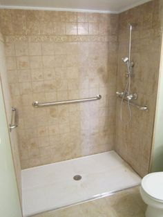 EHLS sells & installs accessible ADA compliant roll-in showers in Chicago, IL, that provide independence for wheelchair users and those with limited mobility. Ada Bathroom, Handicap Bathroom, Master Bathroom, Bathroom Ideas, Shower Floor Tile, Shower Rod, Shower Wheelchair, Roll In Showers, Shower Installation