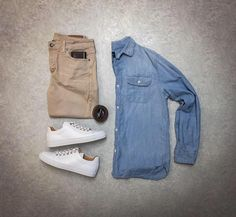 "4,354 Likes, 22 Comments - VoTrends® Men's Fashion (@votrends) on Instagram: ""Nothing better than a light weight chambray shirt  It also looks great with these shoes from…"""