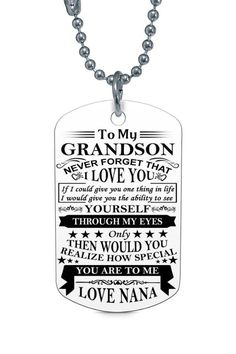To My Grandson Love Grandma Dog Tag Necklace Birthday