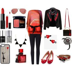 Blushy Red Twinkle by deepshikha-624 on Polyvore featuring Roberto Cavalli, Velvet by Graham & Spencer, OPUS Fashion, Lyssé Leggings, Mark Cross, Melody Ehsani, Ray-Ban, Hobbs, CellPowerCases and 1928