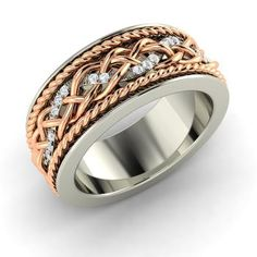 Round SI Diamond Men's Ring in 14k White Gold