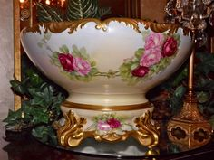 Limoges Huge Gorgeous Signed Punch Bowl & Matching Plinth Filled with Pink and Red Roses