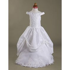 Ball Gown Off-the-shoulder Floor-length Taffeta  Lace Flower Girl Dress – USD $ 119.99