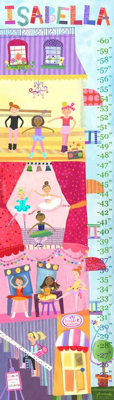 Ballet Academy - By Jill McDonald for Oopsy Daisy - Personalized Growth Chart - Nursery & Kids Decor