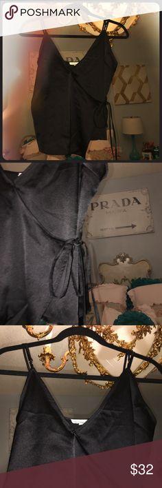 Black Satin Blouse Satin, wrap around, tied on waist, black, new Cotton Candy La Tops Blouses