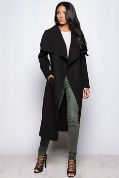 8a54eff440 Evie Black Long Length Waterfall Coat at misspap.co.uk Black Waterfall Coat,