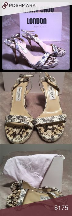 """Jimmy Choo sling back heels Cute moc crock sling backs, heel height 3 1/2"""" Shows slight wear in the soles otherwise in great shape. Jimmy Choo Shoes Heels"""
