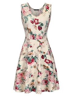 Merokeety Women's Cotton Blend Casual Fit Flare Floral Printed Sleeveless Mini Dress