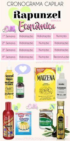Cronograma capilar com receitas caseiras do Projeto Rapunzel. Como fazer um cronograma para crescimento do cabelo com receitas caseiras para hidratação, nutrição e reconstrução.@ohlollas