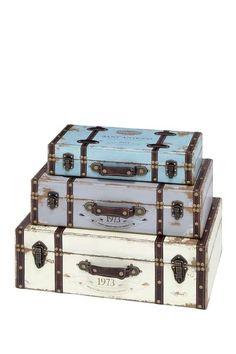 Wood Trunks - Set of 3 by Rustic Vintage on @HauteLook