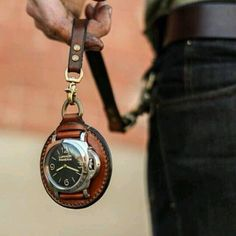 handmade leather housing that turns your Luminor Panerai wrist watch into a pocket watch (design by rinascita concepts) Leather Art, Leather Tooling, Leather Jewelry, Men's Jewelry, Black Leather, Jewellery, Cool Watches, Watches For Men, Crea Cuir