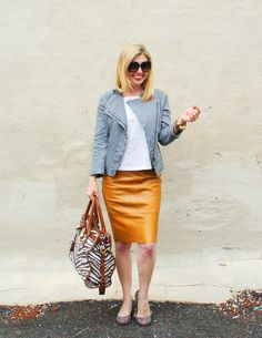 Have a similar jacket and grey leather pencil skirt I don't know what to wear or how to wear.