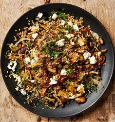 Yotam Ottolenghi's mushroom recipes: bulgur with mushrooms, feta and dill; Roast portobello mushrooms with brioche and poached egg; Quick-pickled mushrooms with goat's curd; Mushroom Recipes, Veggie Recipes, Vegetarian Recipes, Cooking Recipes, Healthy Recipes, King Oyster Mushroom Recipe, Dill Recipes, Cooking Pasta, Greek Recipes