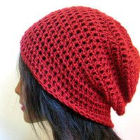 Slouchy Beanie Red Crochet Hipster Mens Womens Oversize Slouch Hat....Want this!!