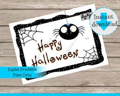 Spider Happy Halloween Instant Digital Download Sign Printable