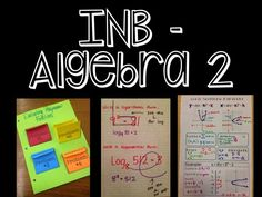a pinterest board full of interactive notebook pages for algebra 2 - great ideas