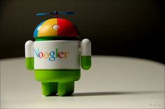 These Android toys are all over the place, but here is one dressed up as a Noogler. A Noogler is a new Googler, required to wear these caps with propellers on them.