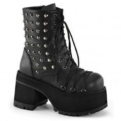 Ranger Studded Womens Platform Combat Boot - New at ShoeOodles.com Price: $94.95  These black vegan leather boots have a 4 inch heel 2 1/2 inch platform and lace up front. There are criss-cross d-ring laces on vamp with spikes and inner zipper closure.  All man made materials with padded insole and non-skid sole.  #gothic #fashion #steampunk