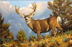 """""""Big Mulie"""" painting by wildlife artist Bruce Miller. Mule deer with a beautiful rack of antlers. Wildlife Paintings, Wildlife Art, Animal Paintings, Animal Drawings, Wildlife Photography, Animal Photography, Deer Hunting Decor, Deer Art, Bear Pictures"""