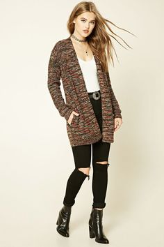 A marled knit cardigan featuring an open-front and two front on-seam pockets.
