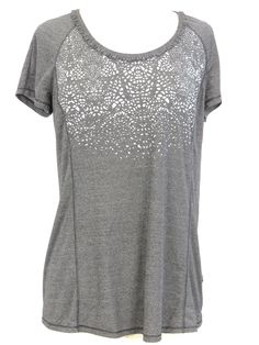 LULULEMON ATHLETICA Women Gray Reflective Print Ruffles Neckline Sports Shirt 6 8