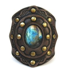 KKC Boho Tooled Leather Cuff with magical Labradorite!
