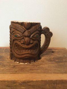 "CERAMIC ""ORCHIDS OF HAWAII"" QUON-QUON TIKI COFFEE MUG JAPAN"