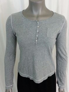 Victoria's Secret top Women's size M gray  #VictoriasSecret #ButtonDownShirt #Casual