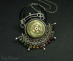 Sterling silver necklace. Tourmaline necklace. от StasyaWireWrap
