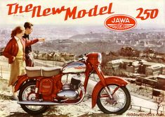 Jawa 250 Type 353 was a standard motorcycle designed and manufactured by Jawa Motorcycles in Czechoslovakia starting from 1954 till Vespa Motorcycle, Enfield Motorcycle, Motorcycle Posters, Moto Bike, Car Posters, Motorcycle Design, Classic Motorcycle, Vintage Motorcycles, Cars And Motorcycles