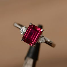 lab ruby ring emerald cut gemstone ring July birthstone ring promise ring for her multistone ring - Ruby Jewelry Deco Engagement Ring, Engagement Ring Settings, Vintage Engagement Rings, Wedding Engagement, Black Gold Jewelry, Ruby Jewelry, Fine Jewelry, Stylish Jewelry, Women's Jewelry