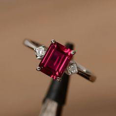 lab ruby ring emerald cut gemstone ring July by godjewelry on Etsy
