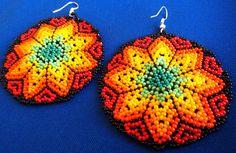 Huichol Beaded Star earrings by Aramara on Etsy