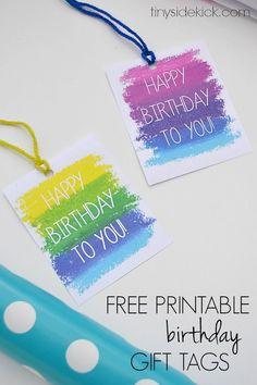 Free Printable Birthday Gift Tags- Print these gift tags the next time you give a birthday present!  |  TinySidekick.com