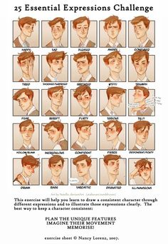 19 ideas for drawing tutorial male face facial expressions Expression Challenge, Drawing Challenge, Oc Challenge, Drawing Poses, Drawing Tips, Drawing Drawing, Anatomy Drawing, Anatomy Art, Character Drawing