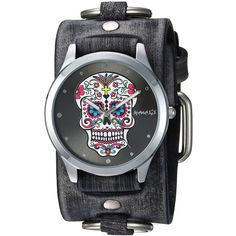Nemesis Women's FRB925K Punk Rock Collection Sugar Skull Watch with... ($37) ❤ liked on Polyvore featuring jewelry, watches, skull jewellery, skull watches, studded watches, skull jewelry and hippie jewelry