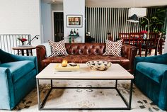 Modern living room decor all decor does not have to match add personality to your living . Brown Leather Couch Living Room, Brown And Blue Living Room, Teal Living Rooms, Living Room Color Schemes, Living Room Chairs, Living Room Furniture, Living Room Designs, Living Room Decor, Teal Couch