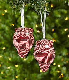 Dillards Trimmings Red Carpet Rollout 35 Red and Silver Owl Ornaments Set of 2 #Dillards