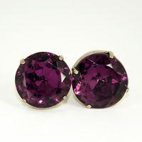 Vintage Earrings Gemstone Mad Men Purple Faceted Purple