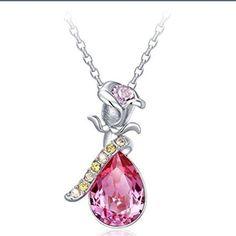 Final Price Pink Rose Silver Flower Pendant