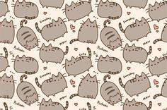 Illustrated Cat Background (Tiled/Seamless) - Click here for the larger version